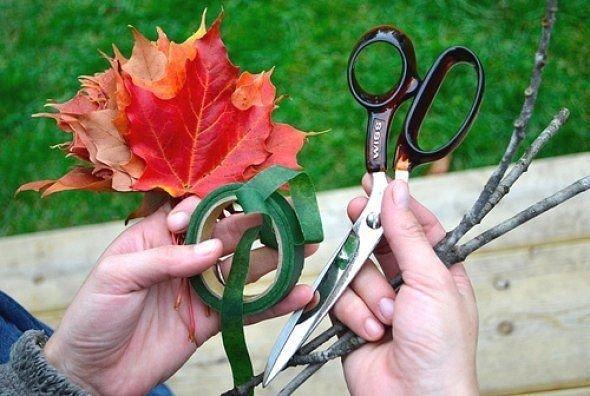 Створюємо осінній букет з листя