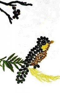 """Намалюйте контур пташки, разом з дитиною """"розфарбуйте"""" її крупами чи насінням. фото www.umka.by"""