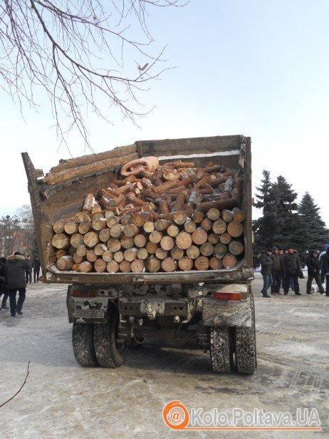 Полтавець привіз на полтавський Євромайдан дрова