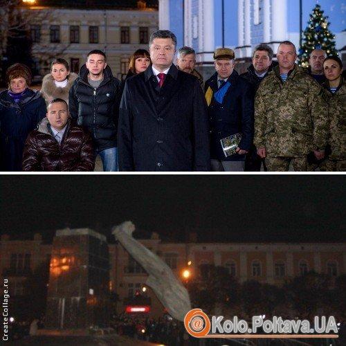 На відео новорічного привітання Президента України показали падіння полтавського Леніна